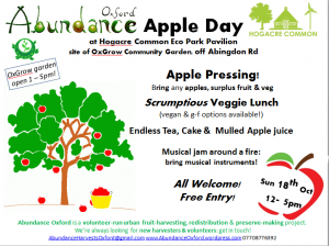 Abundance Oxford Apple Day Poster - Hogacre Common-  18th october 2015